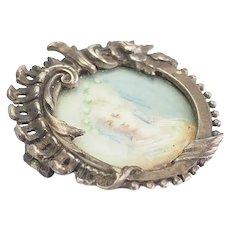 Antique Art Nouveau silver frame pin and miniature hand painted woman portrait