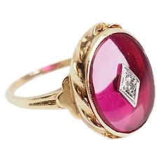 Delicate 10k yellow gold diamond and magenta gemstone ring size 9