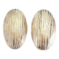 Abstract signed handmade modernist oval sterling silver 14k gold posts earrings