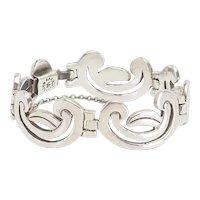 Traditional vintage modern tribal sterling silver signed bracelet Mexico