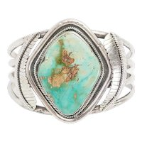 Wonderful large vintage sterling silver turquoise Native American cuff bracelet