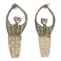 One of a kind whimsical handmade modernist hanging figure mixed metal earrings