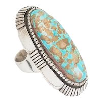 Stunning huge sterling silver turquoise Native American handmade ring sz 9.5