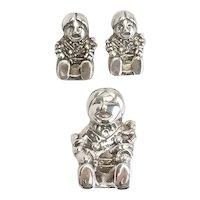 Vintage sterling silver Storyteller pin pendant and earrings set by Carol Felley
