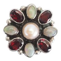 Vintage sterling silver pearl opals Native American pin or pendant by Etta Endito