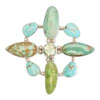 Vintage handmade huge sterling silver turquoise citrine pendant