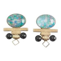 Designer vintage sterling silver opal modernist clip one earrings by Tricia's
