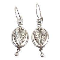 Retro vintage Russian sterling silver leaf motif dangle earrings