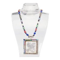 Stunning large vintage inlaid gemstones sterling silver Eagle bird necklace