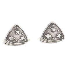 Retro Soviet Russia 875 silver space age Sputnik era planet star cufflinks