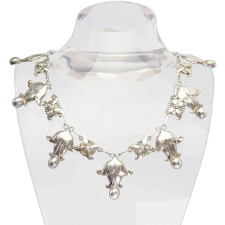 Rare antique sterling silver ornate flowers necklace No 8 by Georg Jensen Denmark