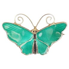 Vintage gilt sterling silver green enamel butterfly pin by David Andersen Norway