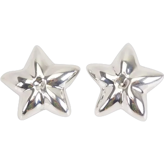 Large vintage sterling silver stars clip on earrings Talleres de los Ballesteros