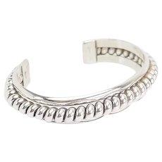 Vintage heavy coil sterling silver Native American cuff bracelet Franklin and Verna Tahe