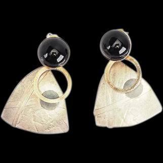 Lewis and Heubner fun vintage kinetic sterling silver modernist earrings