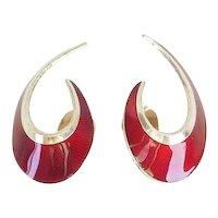Vintage 925 silver red enamel modernist clip on earrings by Hans Myhre