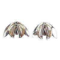 Rare vintage modern handmade sterling silver brass mixed metal earrings