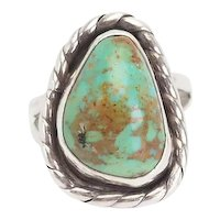 Vintage Native American handmade sterling silver turquoise ring size 12