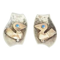 Vintage hammered sterling silver 18k gold bird clip on earrings Old Cuzco Peru