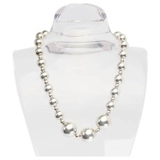 Fun vintage sterling silver multi size ball beads on chain necklace