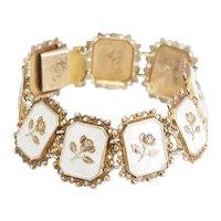 Arne Nordlie gilt sterling silver white cloissonne enamel flower bracelet