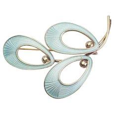 Beautiful vintage light blue enamel and sterling silver pin brooch Jemax Norway