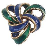 Vintage modern green blue enamel knot statement brooch Ciner