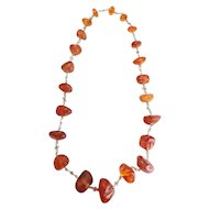 Vintage long chunky genuine Baltic amber handmade necklace