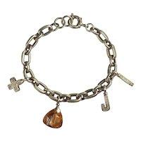 Joop! heavy sterling silver curb chain charm designer Joop bracelet