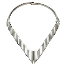Large modernist Art Deco style heavy sterling silver necklace