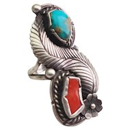 Stunning Native American turquoise coral sterling silver signed ring size 6