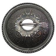 Beautiful vintage hand made 875 silver large ethnic shawl pin brooch Estonia