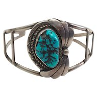 Roger Skeet ? Native American turquoise and silver cuff bracelet