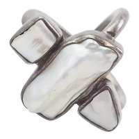 Unique modern double band sterling silver mother of pearl designer ring size 8