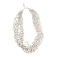 Vintage multi strand sterling silver oval links shimmering necklace