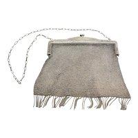 Vintage 800 silver Diana mesh purse hand bag w tassels