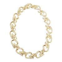 Vintage elegant gold tone metal and rhinestones necklace by Elizabeth Taylor