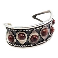Gorgeous vintage modern sterling silver and gemstone cuff bracelet Mexico
