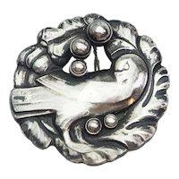 Beautiful vintage sterling silver George Jensen dove bird pin brooch Denmark
