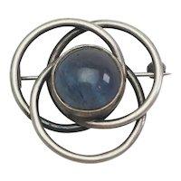 Vintage Marta Lindgren blue agate sterling silver modern infinity pin Sweden