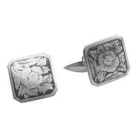 Vintage 875 silver niello rose flower Soviet Russia cufflinks