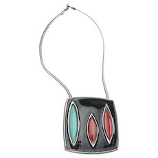 Superb mid century modern enamel and metal colorful necklace by Pierre Cardin
