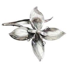 Modern sterling silver vintage flower pin by Gertrude Engel A. Michelsen Denmark