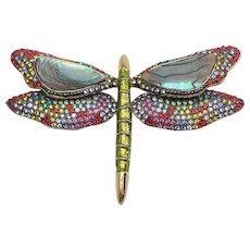 Stunning vintage Joan Rivers dragonfly pin w enamel mother of pearl crystals