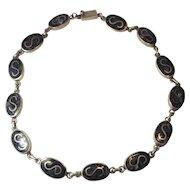 Designer Mexico vintage lapis mosaic letter S shape sterling silver necklace