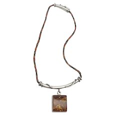 Vintage artisan handmade sterling silver leather and amber modern necklace