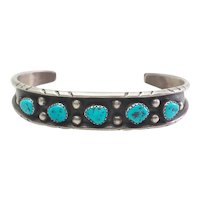 Sterling silver turquoise Native American designer cuff bracelet Annie Hoskie