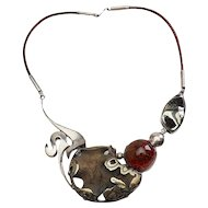 Stunning abstract modern large free form amber sterling silver art necklace