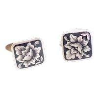 Soviet Russia silver niello flower design cufflinks