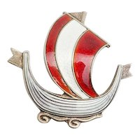 Vintage red gray enamel sterling silver Viking ship pin by Aksel Holmsen Norway